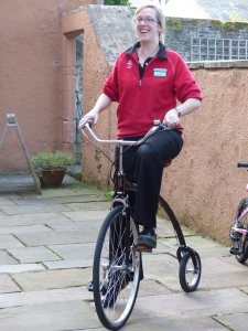 Kirsty tries the penny-farthing